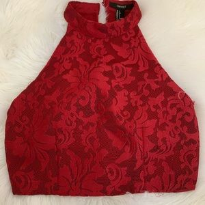 Red floral lace dress top